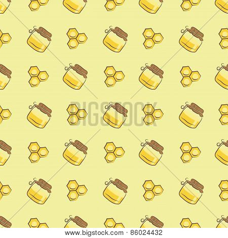 honeycomb and honey jar pattern