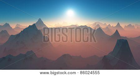 Mountains At Sunset.