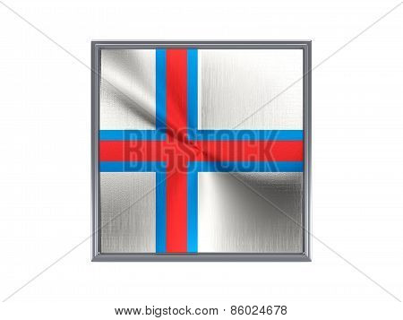 Square Metal Button With Flag Of Faroe Islands
