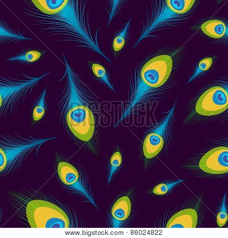Vector Seamless Background With Peacock Feathers.