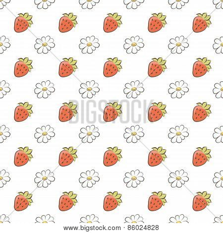 strawberries and flower pattern