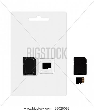 Micro sd card and adapter with 6 layers clipping path