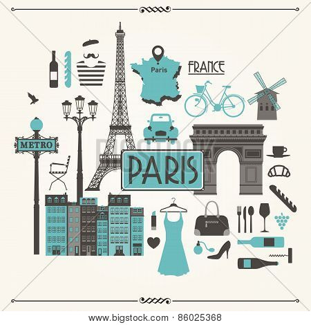 Vector illustration of Paris, France