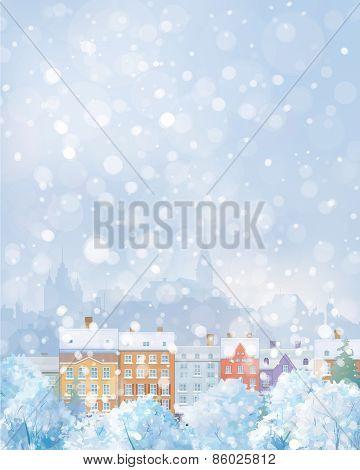 Vector winter cityscape.