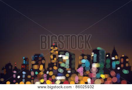 Vector night city background.