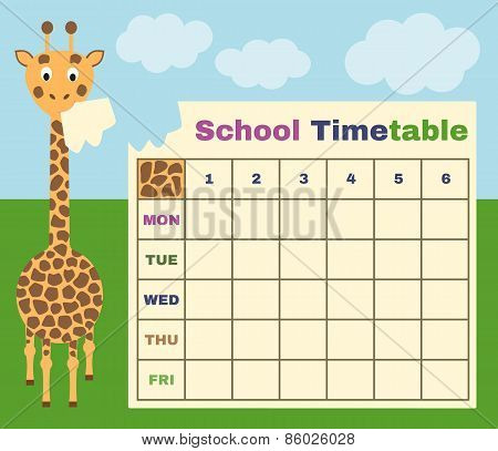 vector school timetable with giraffe