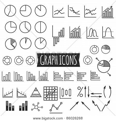 Business charts. Set of thin line graph icons. Outline. Can be use as elements in infographics, as w