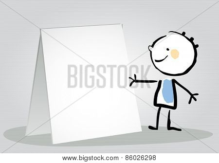 Little boy holding a blank placard, sign. Happy kids vector doodle style sketchy  illustration, line art.