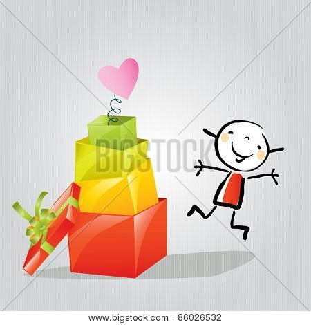 Happy Little girl with gift boxes, presents. Doodle style, sketchy vector illustration concept.