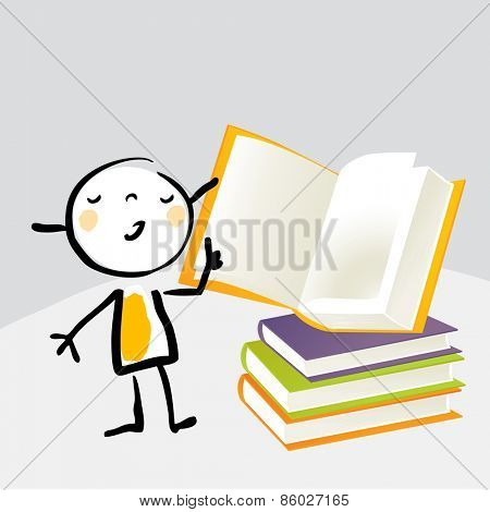 Little girl, reading from a book, education concept. Vector illustration doodle cartoon sketchy style.