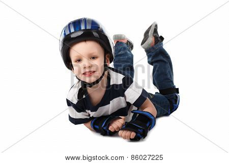 Little Boy In Protective Gear Fell Off His Bicycle