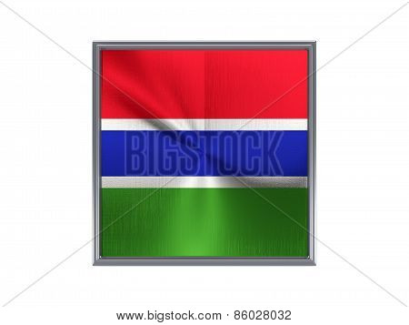 Square Metal Button With Flag Of Gambia