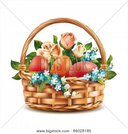 Easter basket on white. Vector eps 10.