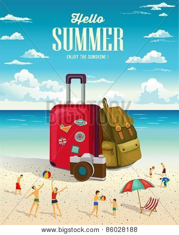 Summer beach holiday vector background. Vacation and Travel concept.