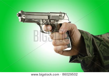 Gun in the hand on white