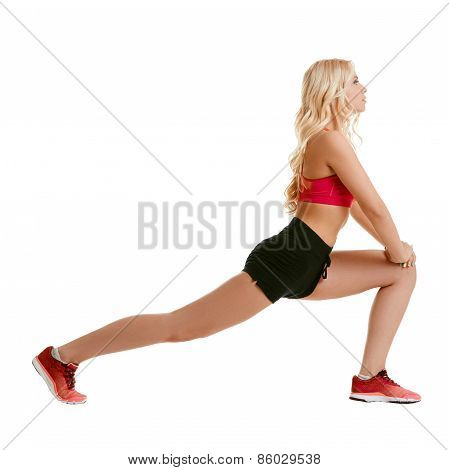 Image of harmonous blonde doing aerobic exercise