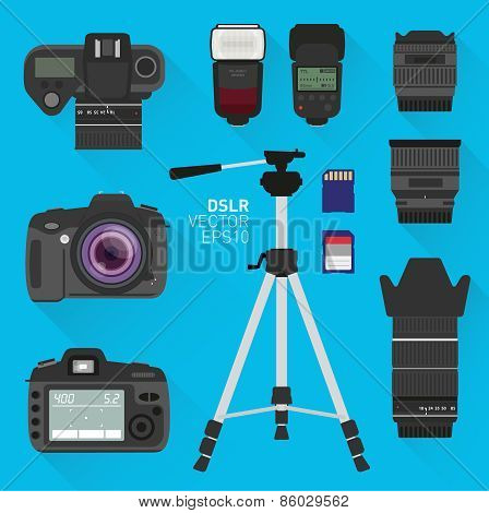 DSLR vector camera set
