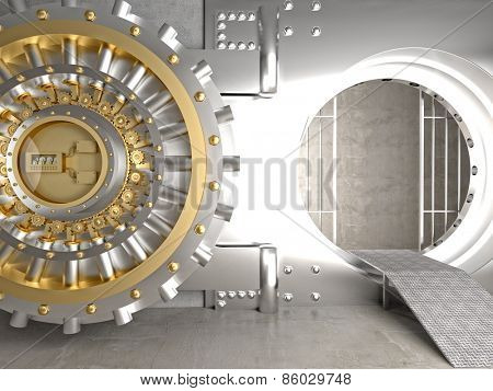 3d image of huge vault door