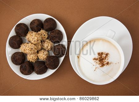 Chocolate Truffles And Tasty Coffee