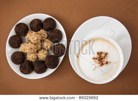 Chocolate Truffles And Tasty Coffee