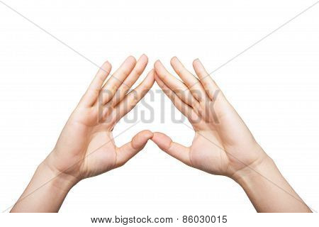 Two woman hands up