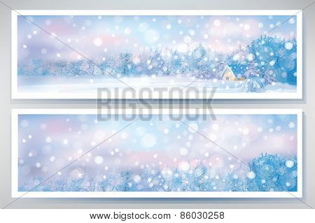 Vector winter banners.