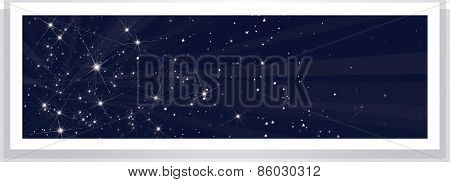 Vector night sky banner.