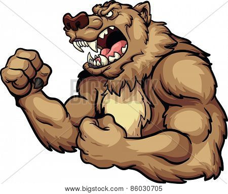 Angry bear mascot. Vector clip art illustration. All in a single layer.