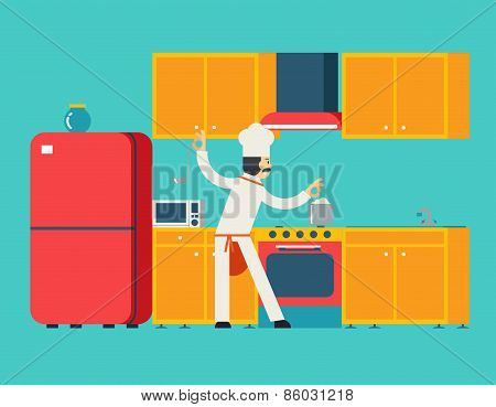 Chief Cook Food Dish Room Kitchen Furniture House Interior Icons and Symbols Flat Design Vector Illu
