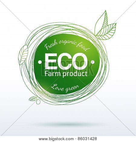 Green linear drawing label of farm food