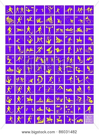 A Set Of Yellow And Purple Sport Icons