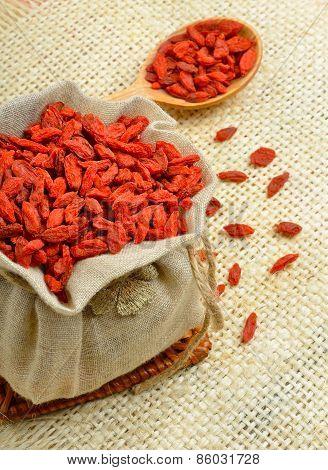 Dried Goji Berries (lycium Barbarum - Wolfberry) In A Burlap Bag