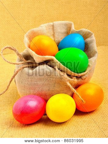 Easter Colored Eggs In The Sack
