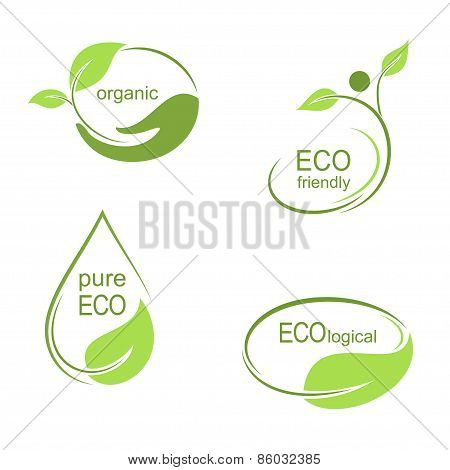 Green emblems and labels