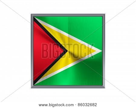 Square Metal Button With Flag Of Guyana