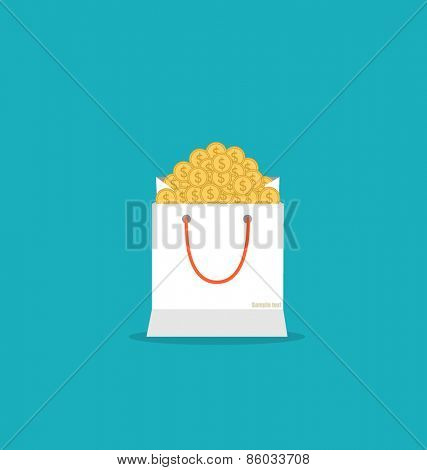Money in the bag, vector illustration.
