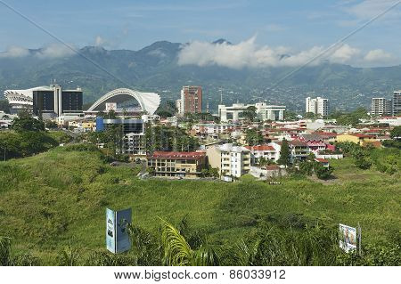 View to the National Stadium and buildings in San Jose, Costa Rica.