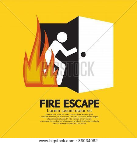 Fire Escape Graphic Sign.