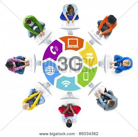 Diverse People in a Circle Using Computer with 3G Concept