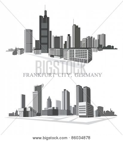 Frankfurt City. Urban panorama. Vector set.