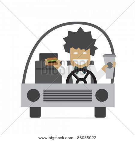 Man is driving and eating burger and drinking coffee