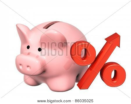 Piggy bank and percent symbol. Isolated on white background