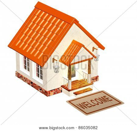 House and doormat. Objects isolated on white background