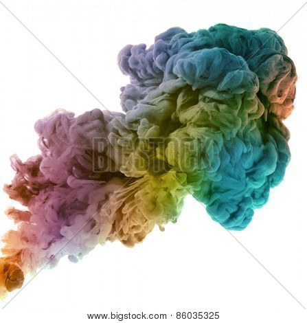 Acrylic colors and ink in water. Abstract background. isolated on white. unfocused