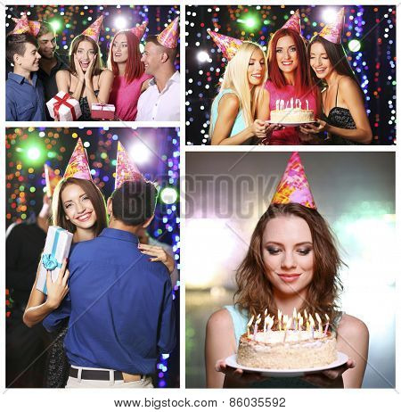 Collage of birthday party in club