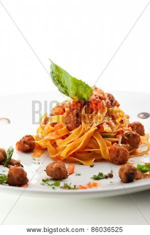 Pasta with Meat Sauce and Basil Leaf