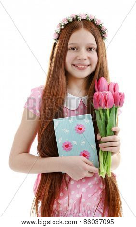 Beautiful little girl with flowers and postcard, isolated on white