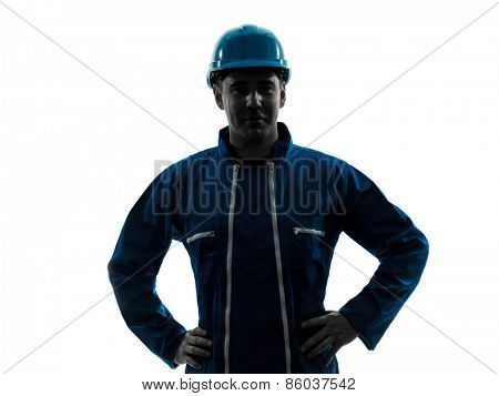 one  man construction worker smiling friendly silhouette portrait in studio on white background