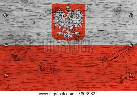 Poland National Flag Painted Old Oak Wood Fastened
