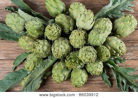 Group Of Raw Artichokes, Top View